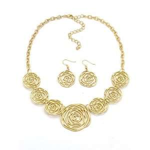 Fashion Jewelry Desinger Inspired Matte Gold Rose Necklace