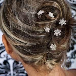 Wedding Beautiful Elegant Crystal Flower Hair Pins Sticks [PACK OF 6