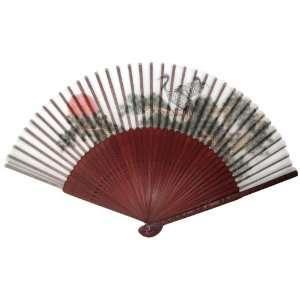 Swan Sunset Red Bamboo Wood Oriental Silk Folding Fan