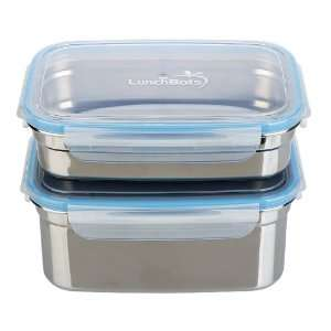 Leak Proof Stainless Steel Food Containers, Set of 2