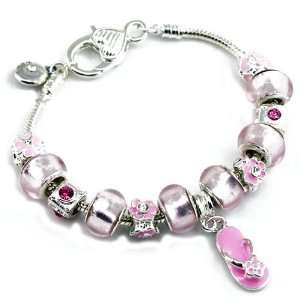 Sandal Charms with Pink Murano Glass Beads Charm Bracelet Jewelry