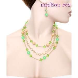 Green Crystals & Gold Tone Chain Multi Necklace & Earring