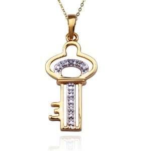 Yellow Gold Plated Sterling Silver Diamond Key Pendant, 18 Jewelry