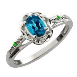 Ct Oval London Blue Topaz Green Tsavorite 14K White Gold Ring Jewelry