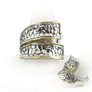 Two Tone Double Band Stretch Fashion Ring Jewelry