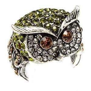 Owl Animal 3D Crystal Rhinestone Stretch Ring Green Jewelry