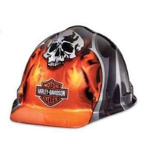 Harley Davidson Hard Hat Skull Flames Bar & Shield Logo w