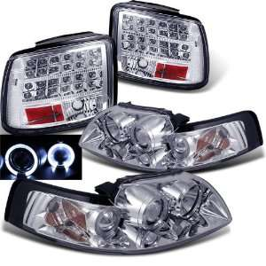 Ford Mustang Twin Halo Projector Head+led Tail Lights Brand New Set