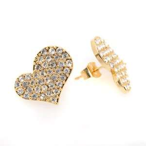 Gold Plated Crystal Romance Heart Earrings