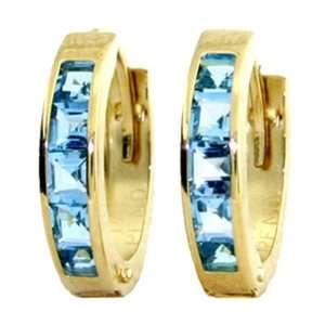 Genuine Princess Blue Topaz 14k Gold Hoop Huggie Earrings Jewelry