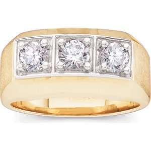 1 CT TW 14K Yellow Gold Gents Diamond Ring Jewelry