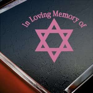 In Loving Memory Star David Pink Decal Window Pink Sticker