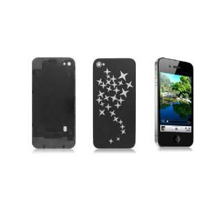 Gino Silver Tone Stars Pattern Black Battery Cover for