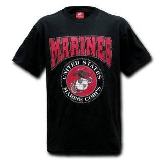 United States Marines Black Official Seal Design T shirt Size MEDIUM