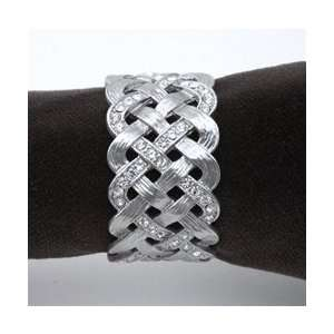 Objet Matte Platinum Braid Napkin Rings, White Swarovski Crystals