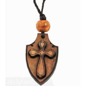 Olive Wood Pendant with Carved Cross (Necklace): Arts