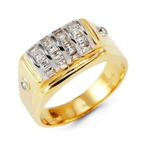 Mens 14k Yellow White Gold Princess Cut CZ Diamond Ring Jewelry