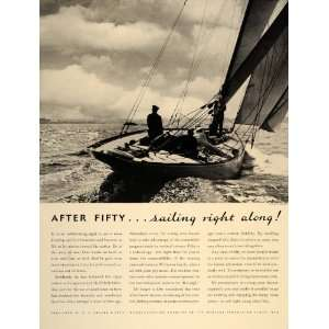 1937 Ad E. R. Squibb Fifty Year Old Man Sailing Boat