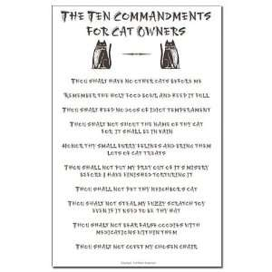 10 Commandments for Cat Owners Funny Mini Poster Print by