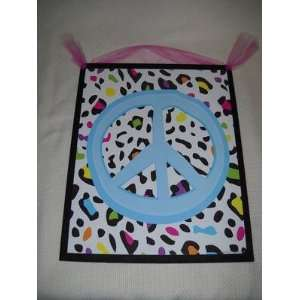 Leopard Spot Peace Sign Wall Art Girls Bedroom Signs