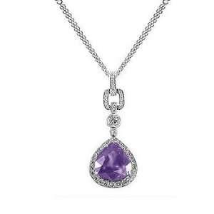2.26Ct Pear Cut Amethyst & VS Diamond 18k Gold Pendant Jewelry