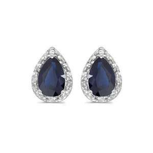 14k White Gold Pear Sapphire And Diamond Earrings Jewelry
