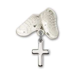 Silver Baby Badge with Cross Charm and Baby Boots Pin Jewelry