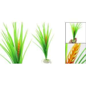 Como Plastic Wheat Design Green Orange Fish Tank Decor