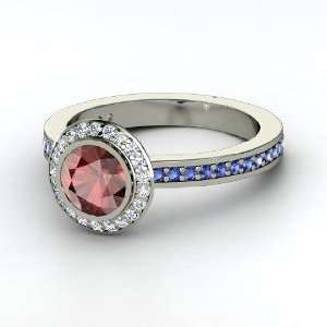 Ring, Round Red Garnet Platinum Ring with Diamond & Sapphire Jewelry