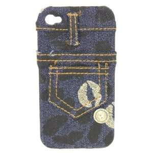 Lip Blue Jeans Design Fabric Case for Apple Iphone 4 / 4G Snap on Cell