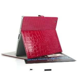 ZuGadgets Red Luxury Crocodile Pattern Leather Flip Book