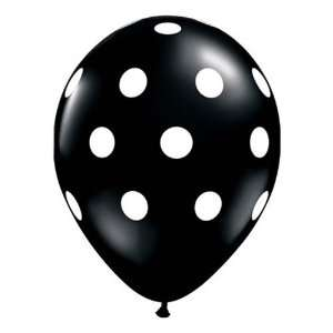Big Polka Dots Balloons   11 Inch Black with White Dots