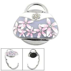 Rhinestone Flower Light Purple White Handbag Design Folding Purse