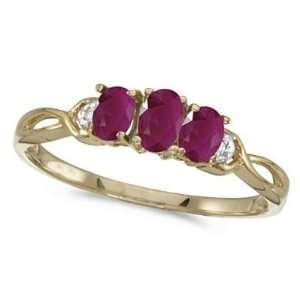 Oval Ruby and Diamond Three Stone Ring 14k Yellow Gold (0