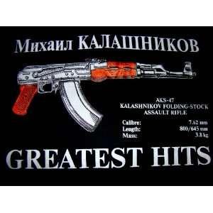 RUSSIAN CCCP USSR T SHIRT AK 47 AK47 MASHINE GUN KALASHNIKOV BLACK XL