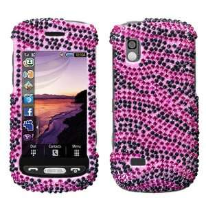 Zebra Skin (Hot Pink/Black) Diamante Protector Cover for Samsung A887