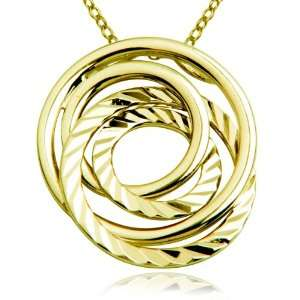 Plated Sterling Silver Diamond Cut Multi Circle Pendant, 18 Jewelry