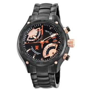 Classic Fly Back Chronograph Steel Black Leather Strap Watch Watches