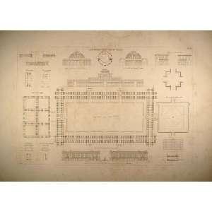 1841 Engraving Plaza Squares Architecture Plans Durand   Original