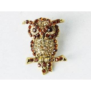 Topaz Crystal Rhinestones Perched Branch Standing Hoot Owl Pin Brooch