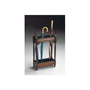 Cherry Veneer Umbrella Stand with Brass Tray by Butler