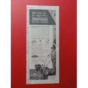 Simplicity garden tractor.1950 print ad (woman/tractor).) Orinigal