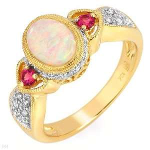 Ladies Gemstones & Diamond Antique Style Ring 10k Yellow Gold Jewelry