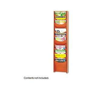 Wall Mount Literature Display Rack, 12 Pockets, Cherry Office