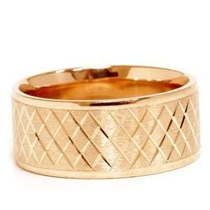 Yellow Gold Hand Carved 8MM Flat Comfort Wedding Band Jewelry