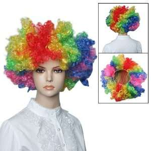 Colorful Hair Dressing Clown Bob Curl Up Afro Circus Party Cosplay Wig