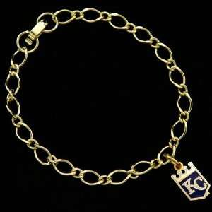 MLB Kansas City Royals Ladies Gold Tone Charm Bracelet
