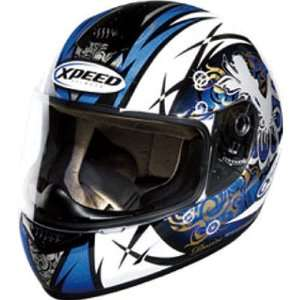 Xpeed Symbol XP507 Sports Bike Racing Motorcycle Helmet   White/Blue