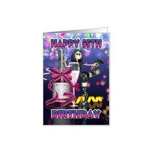 55th Birthday Card   Champagne Rag Doll Card  Toys & Games