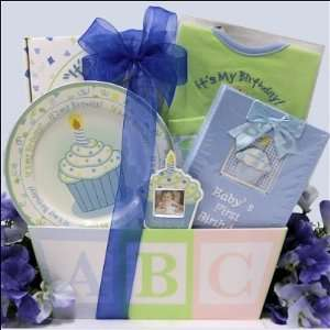 Babys First Birthday Boy Baby Gift Basket On PopScreen